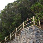 Escalera al final del sendero que nos baja al mirador de Cabezo del Tejo