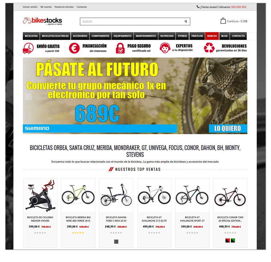 Captura de pantalla de la web de bikestocks