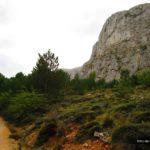 La pista hacia la Font de Forata va en todo momento junto a grandes paredes de roca