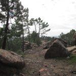 La senda transcurre entre grandes bloques de piedra