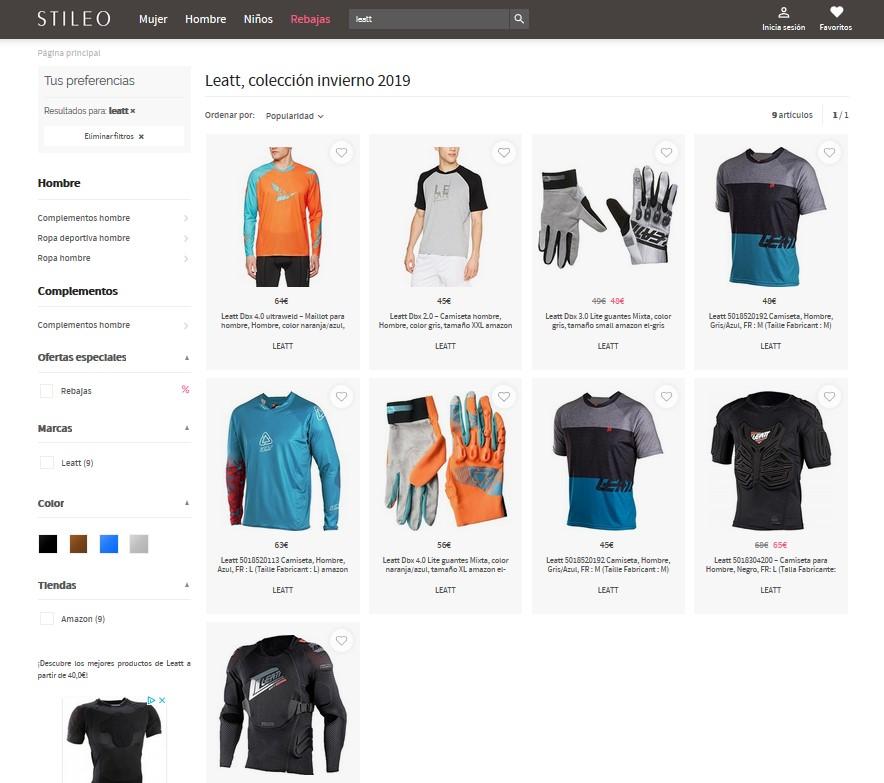 """Ejemplo de resultados al buscar la marca """"Leatt"""""""