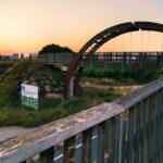 Puente de Madera que nos saca de Mislata hacia la ruta Fluvial del Turia