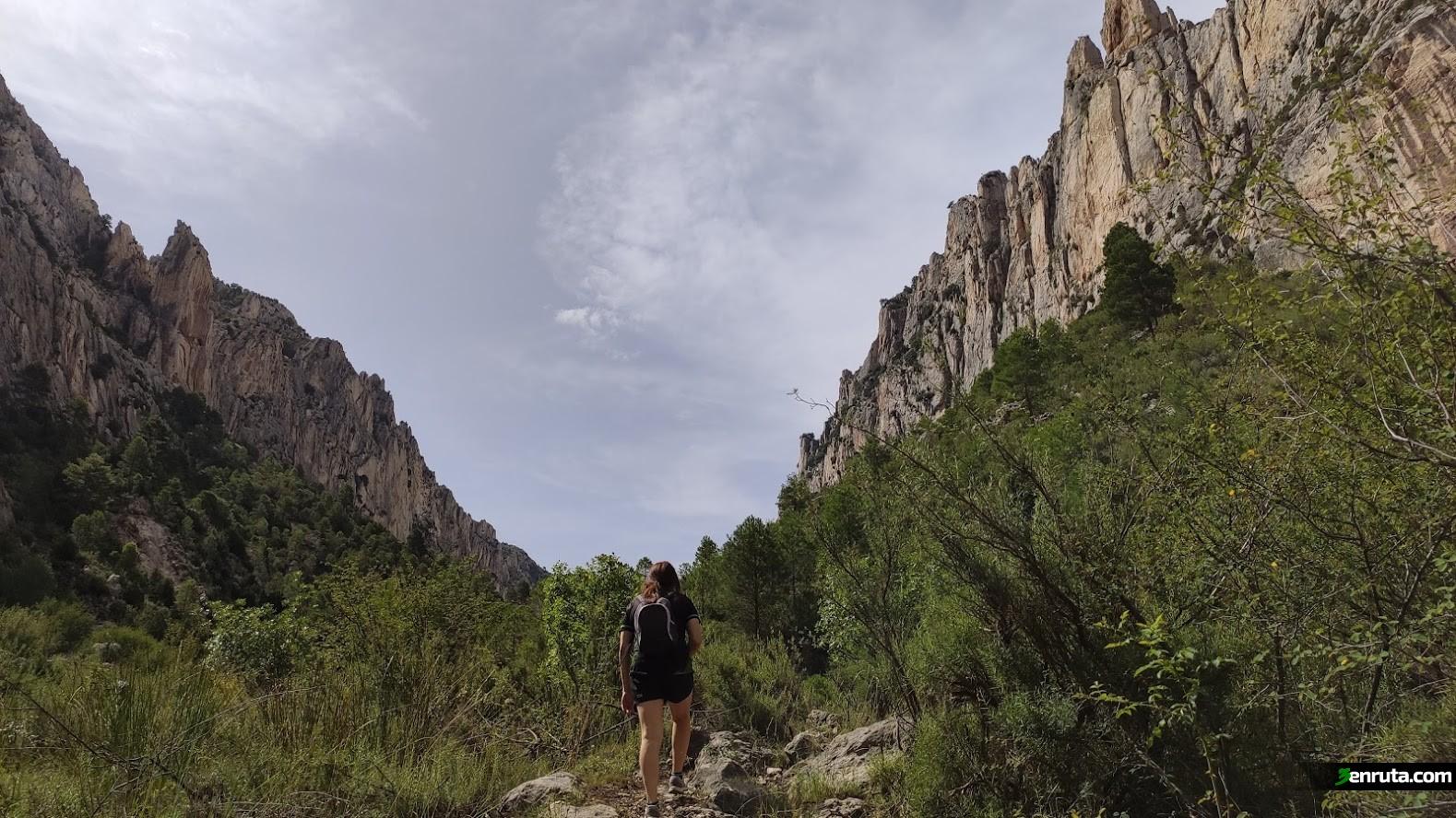 Ascenderemos por el Barranco de Valloré rodeados por auténticas murallas de roca