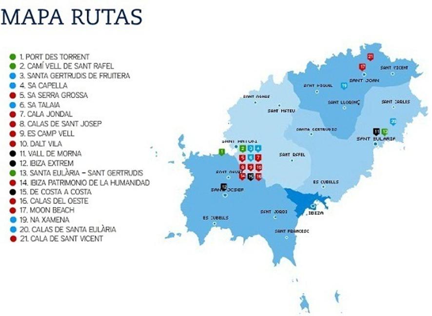 Mapa de rutas en Ibiza