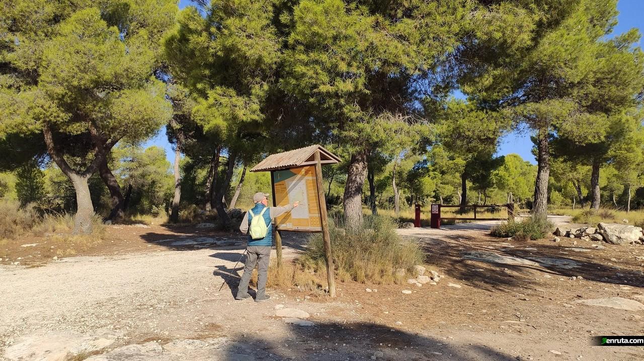 Indicador junto al parking donde comenzamos la ruta de la Cueva de la Horadada