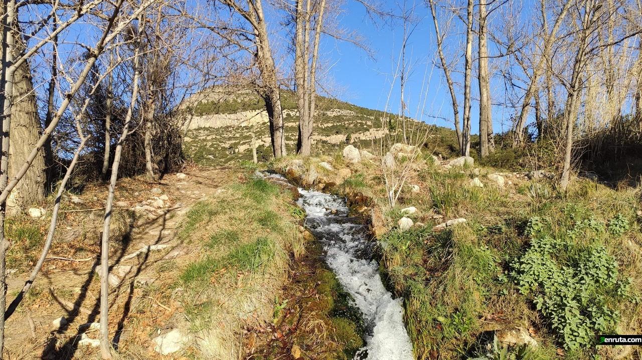 Caudal de Agua que baja del Barranco de la Ermita y conforma el Chorrero de la Garita