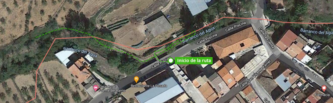 Punto de inicio de la ruta de El Chorrero y las Cuevas de la Garita