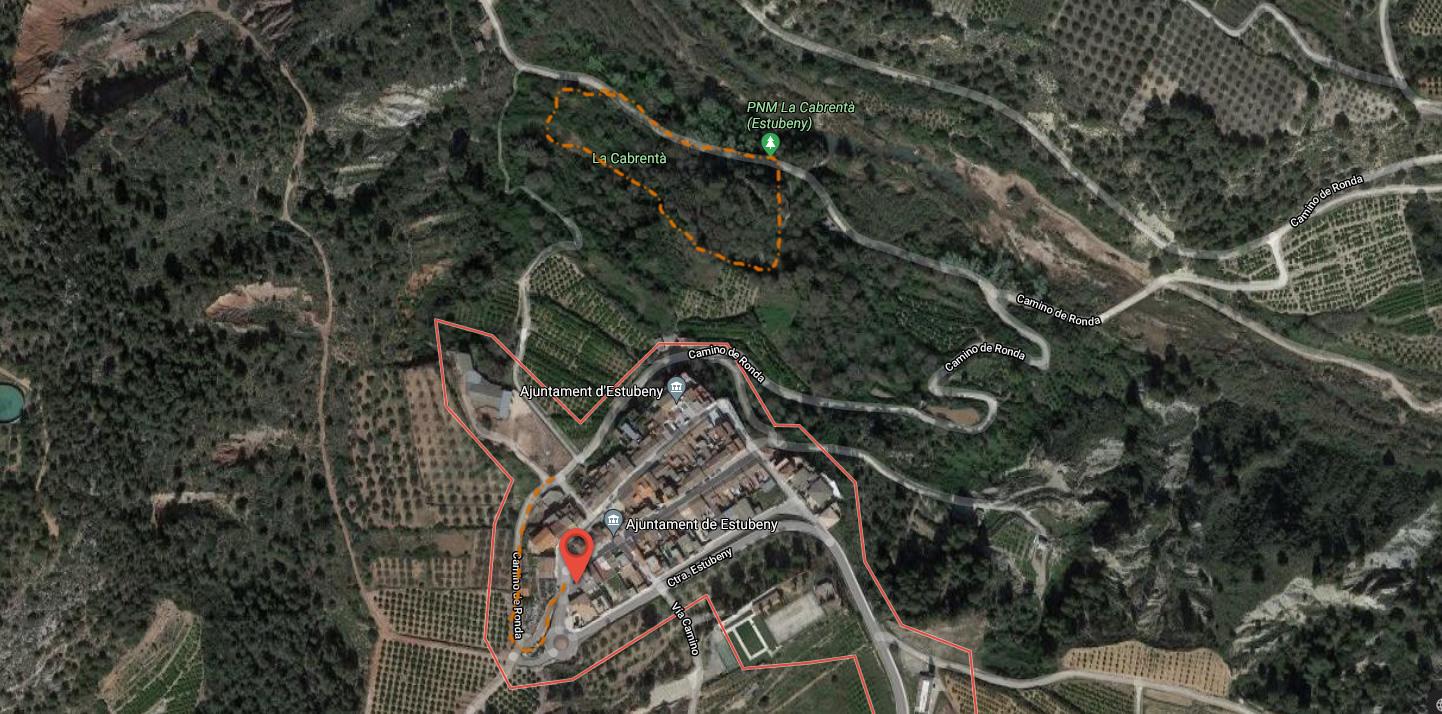Inicio de ruta del paraje natural municipal de la Cabrentà