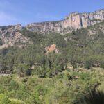 Vistas de la montaña a cuyos pies empezamos la ruta desde la senda de la pinada